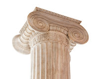Ionic Column Capital. Closeup of capital (volute and abacus) of a nineteenth century neoclassical ionic column located in the porch of the Archaeological Museum royalty free stock photo