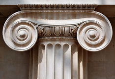 Ionic column capital. With scrolling volutes royalty free stock images