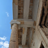 Ionic column and ceiling acropolis Stock Photography