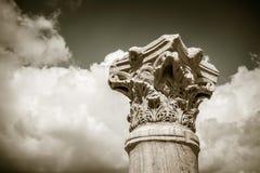 Ionic column closup. Black and white Stock Photo
