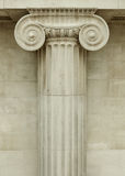 Ionic column. Detail, greek architecture stock photo