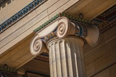 Ionic Column Detail at Philadelphia Art Museum. Close up detail of an ornate,painted Ionic column on the exterior of the Philadelphia Museum of Art stock images