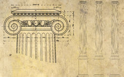 Ionic column. Detail of ionic column and three columns on background of ancient paper Royalty Free Stock Images
