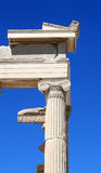 Ionic Column from Erechtheum of Acropolis. Ionian corner pillar of the Erechtheum, the acropolis in Athens, Greece Royalty Free Stock Photo