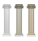 Ionic Column. Three Ionic Columns with different toning Stock Photography