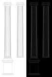 Ionic columns. Illustration on white and black background Royalty Free Stock Photo