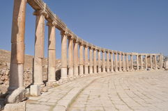 Ionic Columns. Forum Plaza and columns in Jerash Royalty Free Stock Photography
