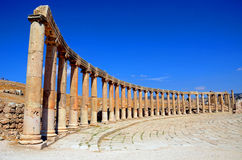 Ionic columns. At Forum in Jerash,Jordan stock photography