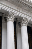 Ionic columns of a bank building Royalty Free Stock Photo