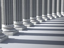 Ionic columns. 3D render of marble columns royalty free illustration