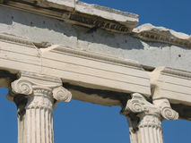 Ionic columns from Erechtheion, Athens, Greece. An example of Ionic columns royalty free stock image