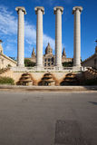 Ionic Columns and National Art Museum of Catalonia Stock Image
