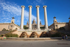 Ionic Columns and National Art Museum of Catalonia Royalty Free Stock Image