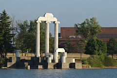 Ionic Columns at Sunset. These Ionic columns are from the former Federal Reserve Bank in Buffalo, NY. They are now at Baird Point on Lake Lasalle. At the stock images