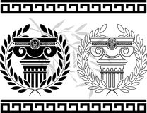 Ionic columns with wreaths. Stencil.  illustration Royalty Free Stock Photo
