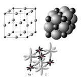 Ionic crystals The structure of sodium chloride NaCl. Illustration of an ionic crystal structure of sodium chloride, NaCl Stock Images