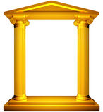 Ionic gold frame. Ionic columns gold frame on white background Stock Images