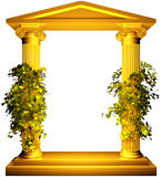 Ionic gold frame with vine. Ionic columns gold frame with vine leaves on white background Royalty Free Stock Images