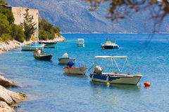 Ionic sea boats Royalty Free Stock Images