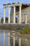 Ionic Stoa. The Ionic stoa (covered promenade) in Miletos, western Turkey, reflected in still water. Built under the reign of the emperor Claudius royalty free stock photo