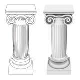 Ionische geïsoleerde het perspectiefmening van de kolomstijl Royalty-vrije Stock Fotografie