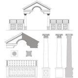 Ionische kolom, poort en omheiningsreeks vector illustratie