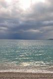 Ionische overzees in een bewolkte dag Stock Fotografie