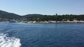 Ionische Overzees, Griekenland, Cephalonia-eiland, Fiskardo-dorp stock videobeelden