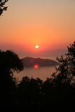Ionische Zonsondergang. Royalty-vrije Stock Foto