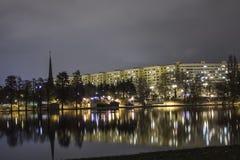 Ior-sjö på natten Arkivbild