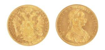 IOS ФРАНКА золотой монетки - австрийский император Стоковое Изображение RF