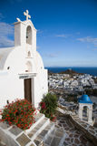 Ios Church. A picture of a white church looking below to to Iso and out to sea Royalty Free Stock Photo