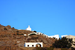 Ios - Cyclades - Greece. White church in iOS in the Cyclades Islands in Greece stock images
