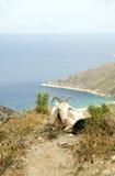 Ios Greece da praia de Agia Theodoti dos carneiros Foto de Stock