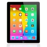 IOS 7 1 2 homescreen en una exhibición del iPad Foto de archivo