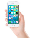IOS 9 homescreen on the white Apple iPhone 5s display Royalty Free Stock Images