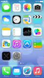 IOS 7 icons & homescreen. Close up of the icons & homescreen of new Apple iphone 5s with the new IOS 7 os Royalty Free Stock Image