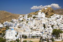 Ios Island, Cyclades, Greece. A pretty hillside town on the greek island called Ios, Greece Royalty Free Stock Image