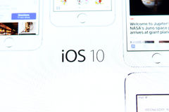 Ios 10 logo on apple official home page Royalty Free Stock Photo