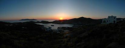 Ios zonsondergangpanorama Stock Afbeelding