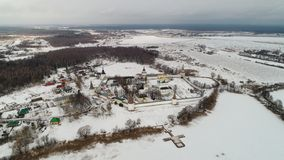 Iosifo-Volotsky monastery in winter, Moscow region, Russia, aerial view stock photography