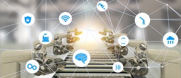 Iot产业4 0个人工智能技术概念 使用趋向自动化机器人汽车manufacturi的聪明的工厂 库存照片