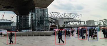 Iot使用人工智能对测量,分析和相同c的机器学习与人和物体识别 免版税图库摄影