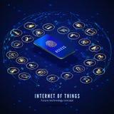 IOT等量横幅   数字全球性生态系 由智能手机的监控聪明的系统 库存例证