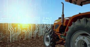 Iot聪明种田,在产业4的农业 与人工智能和机器学习概念的0技术 它帮助到im 免版税库存照片