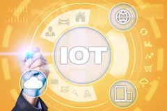 IOT Διαδίκτυο της έννοιας πράγματος Πολυδιαυλικό σε απευθείας σύνδεση δίκτυο επικοινωνίας Στοκ εικόνα με δικαίωμα ελεύθερης χρήσης