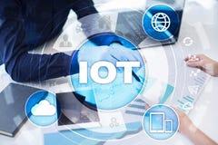 IOT Διαδίκτυο της έννοιας πράγματος Πολυδιαυλικό σε απευθείας σύνδεση δίκτυο επικοινωνίας ψηφιακά 4 0 τεχνολογία Διαδίκτυο Στοκ εικόνες με δικαίωμα ελεύθερης χρήσης