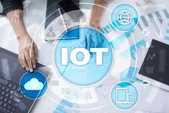 IOT Διαδίκτυο της έννοιας πράγματος Πολυδιαυλικό σε απευθείας σύνδεση δίκτυο επικοινωνίας 4 ασύρματη εφαρμογή Διαδικτύου 0 τεχνολ Στοκ Εικόνες
