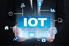 IOT Διαδίκτυο της έννοιας πράγματος Πολυδιαυλικό σε απευθείας σύνδεση δίκτυο επικοινωνίας Στοκ Εικόνες