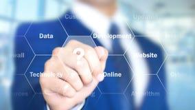 IoT, Διαδίκτυο των πραγμάτων, άτομο που λειτουργεί στην ολογραφική διεπαφή, οπτική οθόνη διανυσματική απεικόνιση